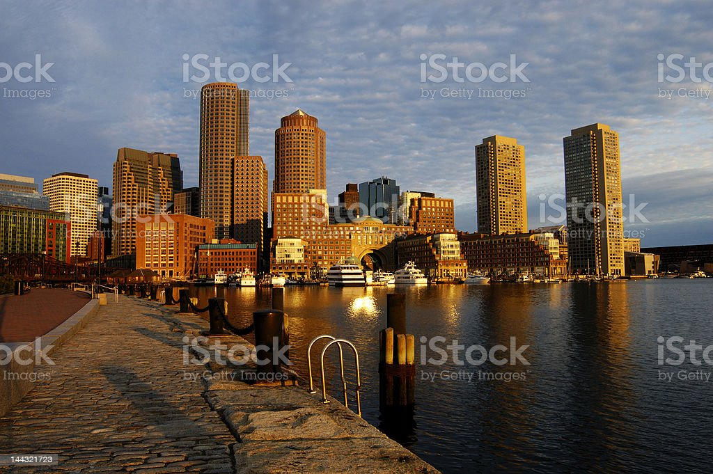 Boston harbor skyline at dawn stock photo