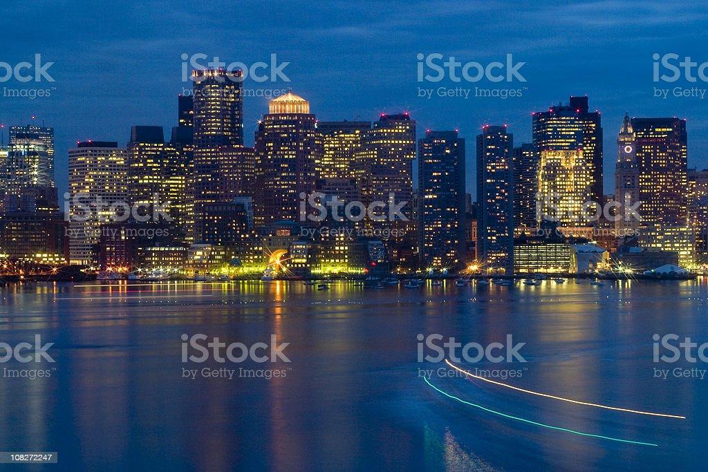 Boston Harbor, Skyline, Massachusetts, Buildings, Lights, Night, Star Filter stock photo