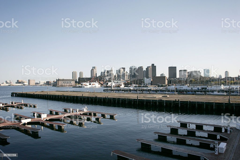 Boston Harbour Waterfront with Skyline from Watertown royalty-free stock photo
