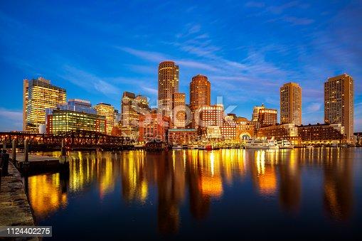 Boston harbour with cityscape and skyline on sunset, Massachusetts, Boston city, USA