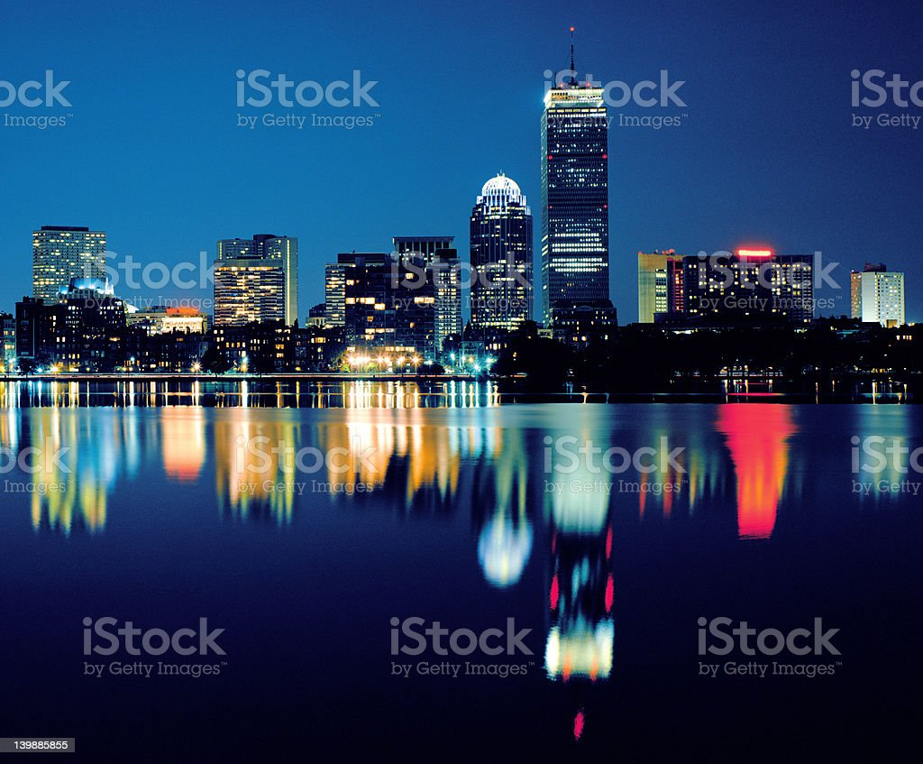 Boston in the Evening (color) royalty-free stock photo
