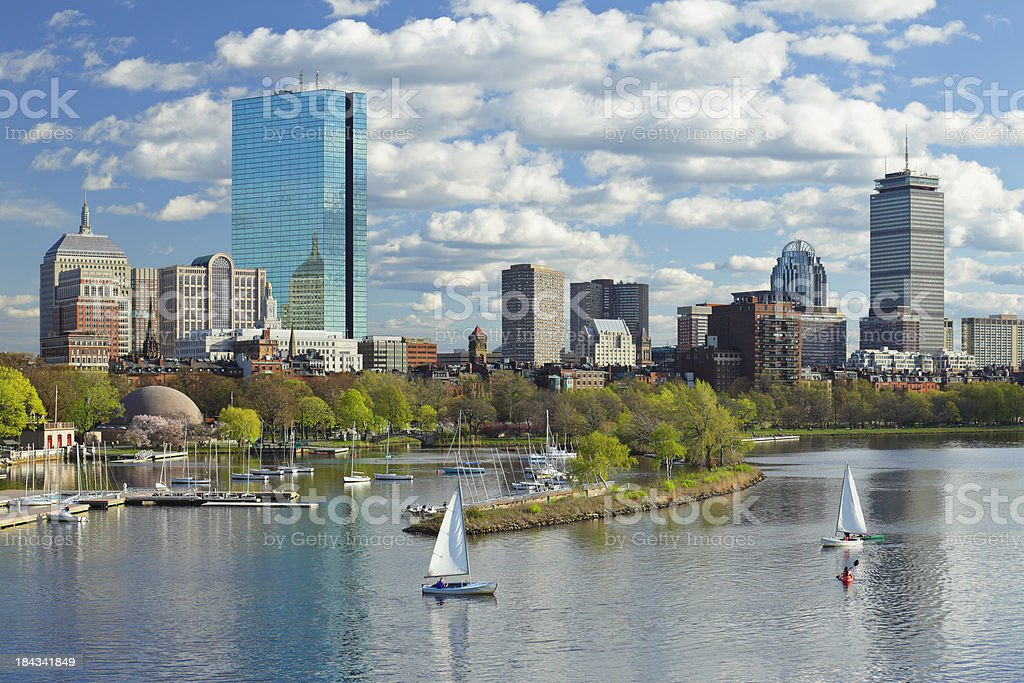 Boston, MA day skyline and Back Bay with sailboats stock photo