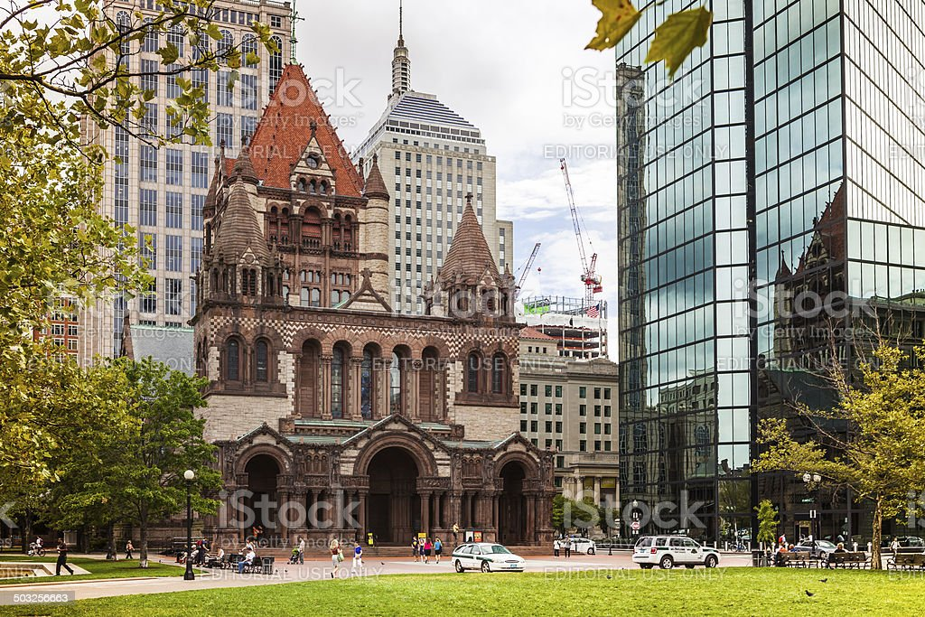 Boston MA, USA - Trinity Church stock photo