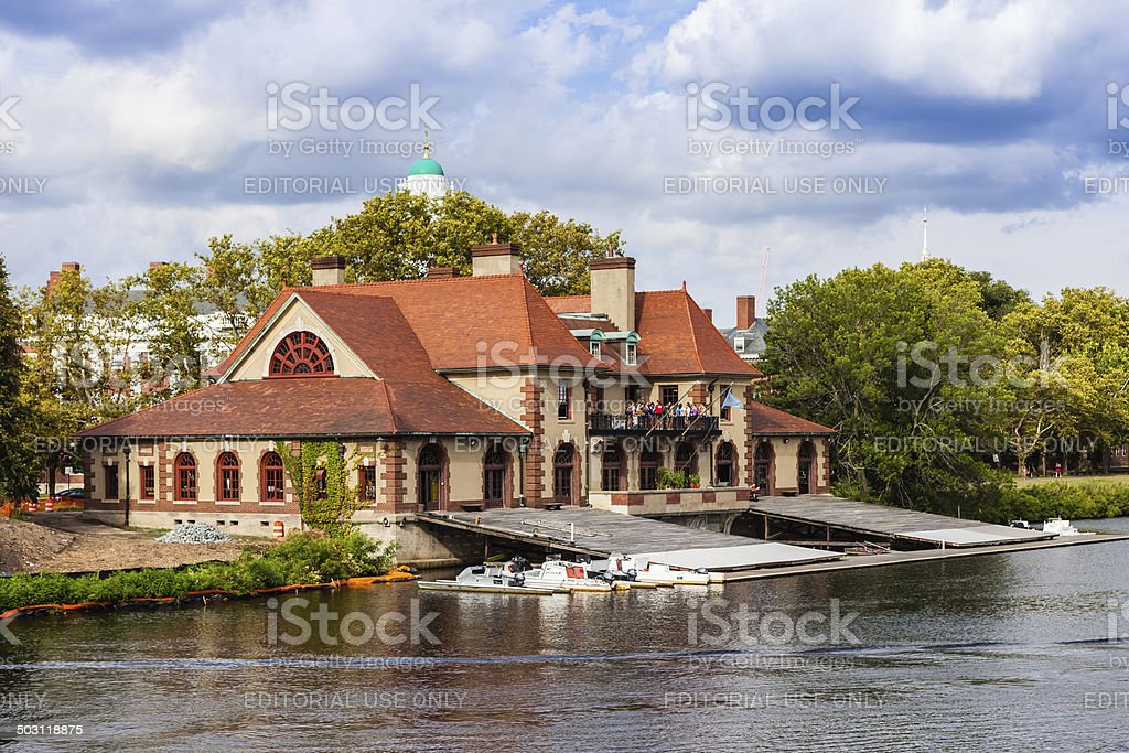 Boston MA - Weld Boathouse on the Charles River stock photo