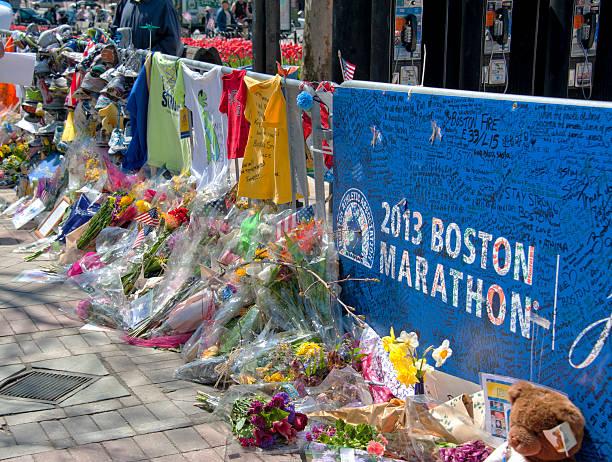 boston marathon 2013 memorial - boston marathon stock photos and pictures