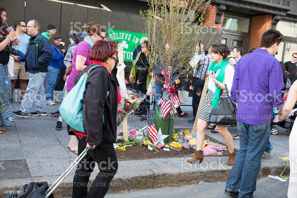 Boston Marathon Bomb Site stock photo