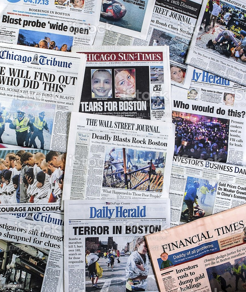 Boston Marathon Bombing headline collage royalty-free stock photo