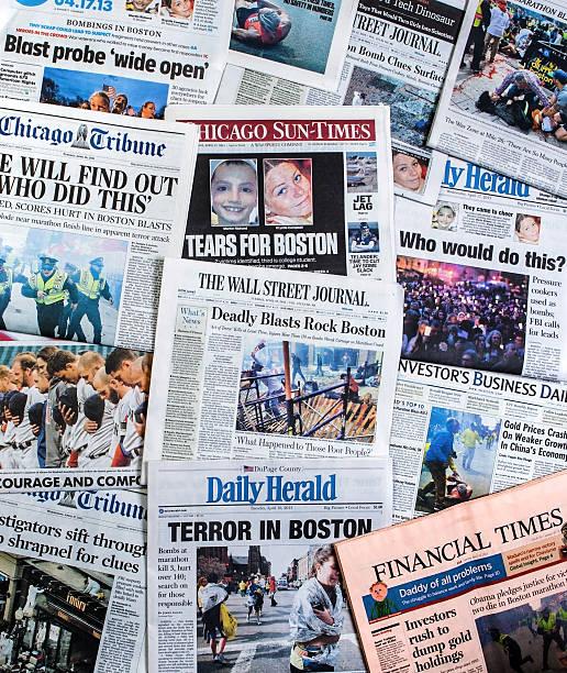 Boston Marathon Bombing headline collage stock photo