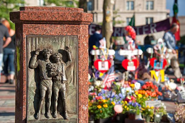 boston marathon scalpture - boston marathon stock photos and pictures
