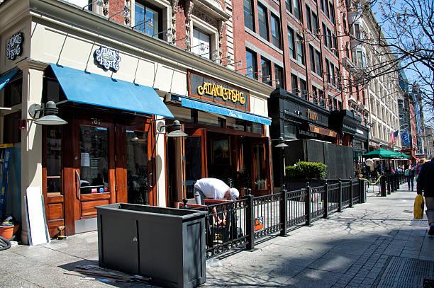 boston marathon second boming site - boston marathon stock photos and pictures