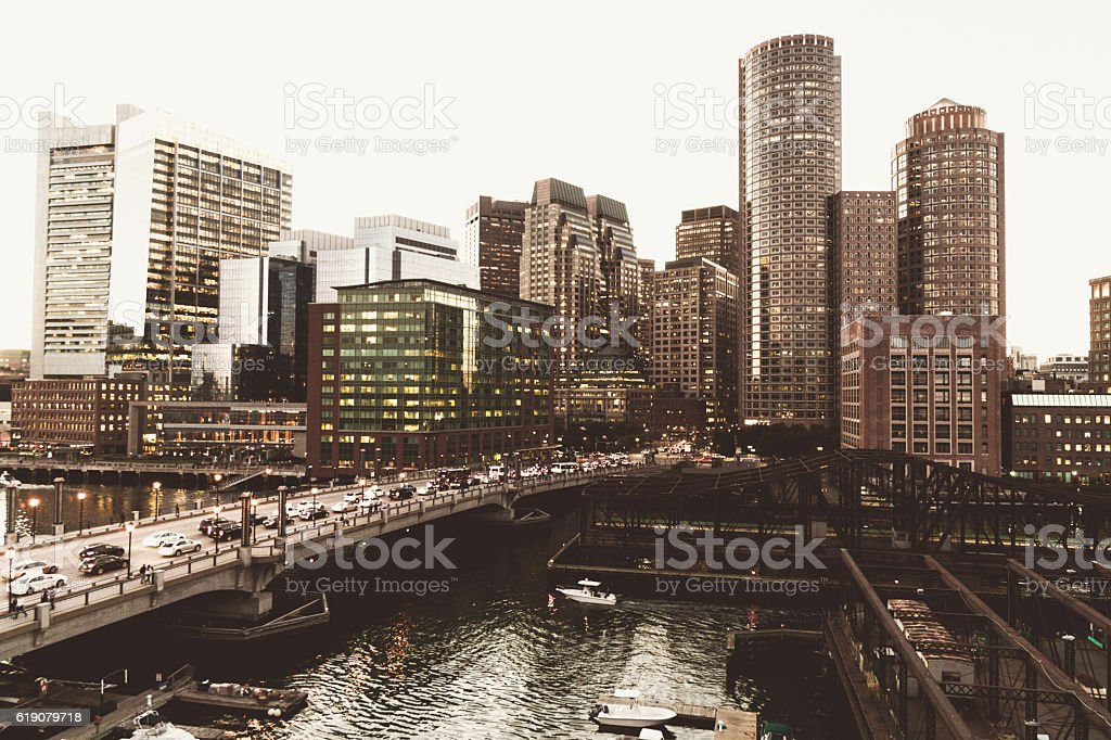 Boston marina skyline at dusk with sunlight stock photo