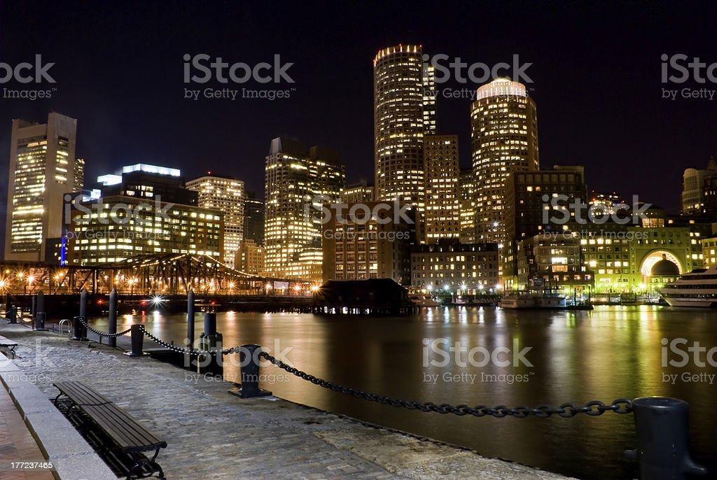 Boston Massachusetts at night stock photo