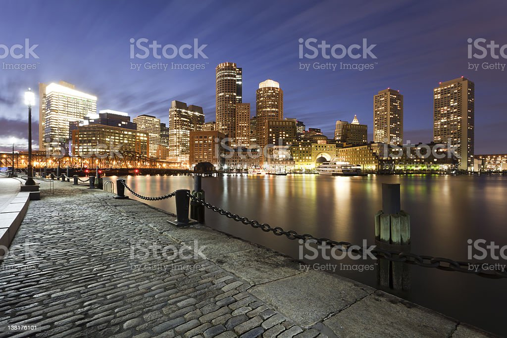 Boston Massachusetts Financial District Dusk royalty-free stock photo