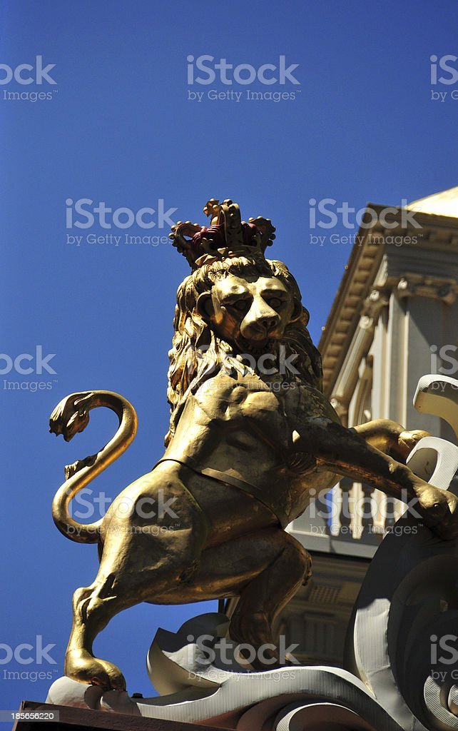 Boston, Massachusetts: lion at the Old State House stock photo