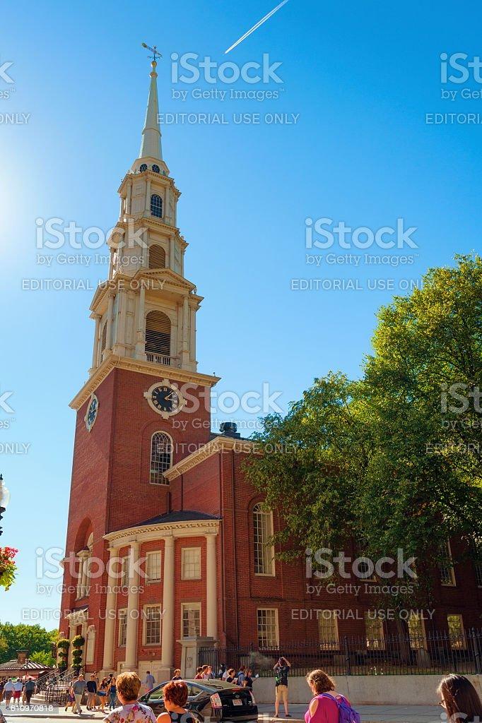 Boston Massachusetts Park Street Church stock photo