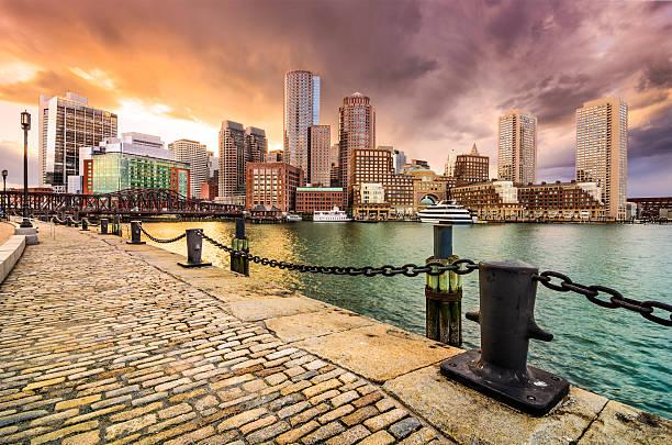 Boston, Massachusetts Skyline Boston, Massachusetts, USA Skyline at Fan Pier. promenade stock pictures, royalty-free photos & images