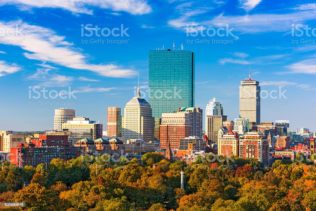 Horizonte de Boston, Massachusetts - foto de acervo