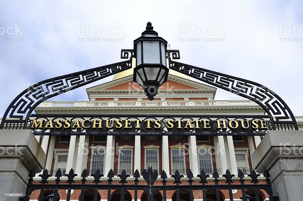 Boston, Massachusetts State House Entrance stock photo