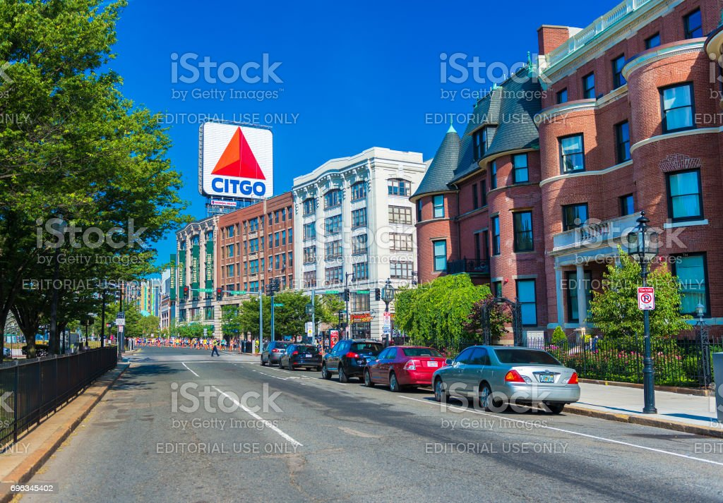 Boston, Massachusetts, USA: Boston Marathon, view of Kenmore Square and big Citgo logo on rooftop of building stock photo