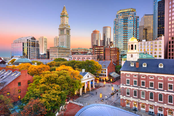 Boston, Massachusetts, USA Downtown Skyline stock photo