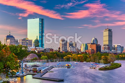 Boston, Massachusetts, USA downtown skyline on the Charles River in the morning.