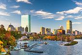 Boston, Massachusetts, USA skyline on the Charles River in the morning.