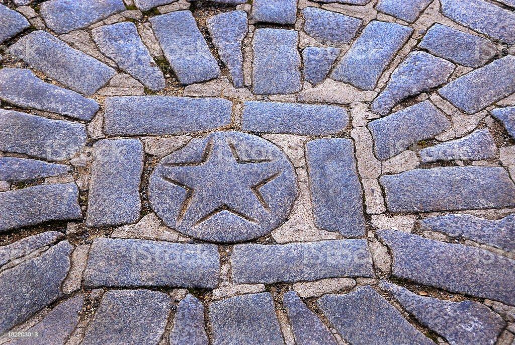 Boston Massacre Cobblestone Site Marker Monument on Freedom Trail royalty-free stock photo