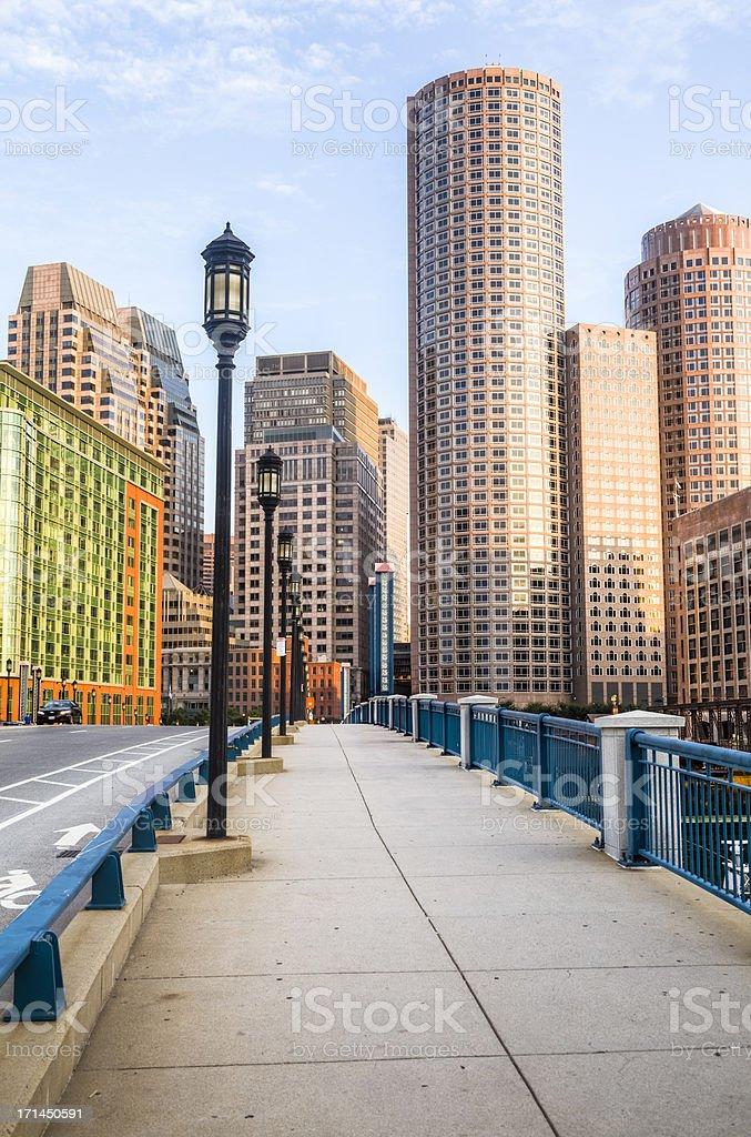 Boston Morning from the Moakley Bridge stock photo