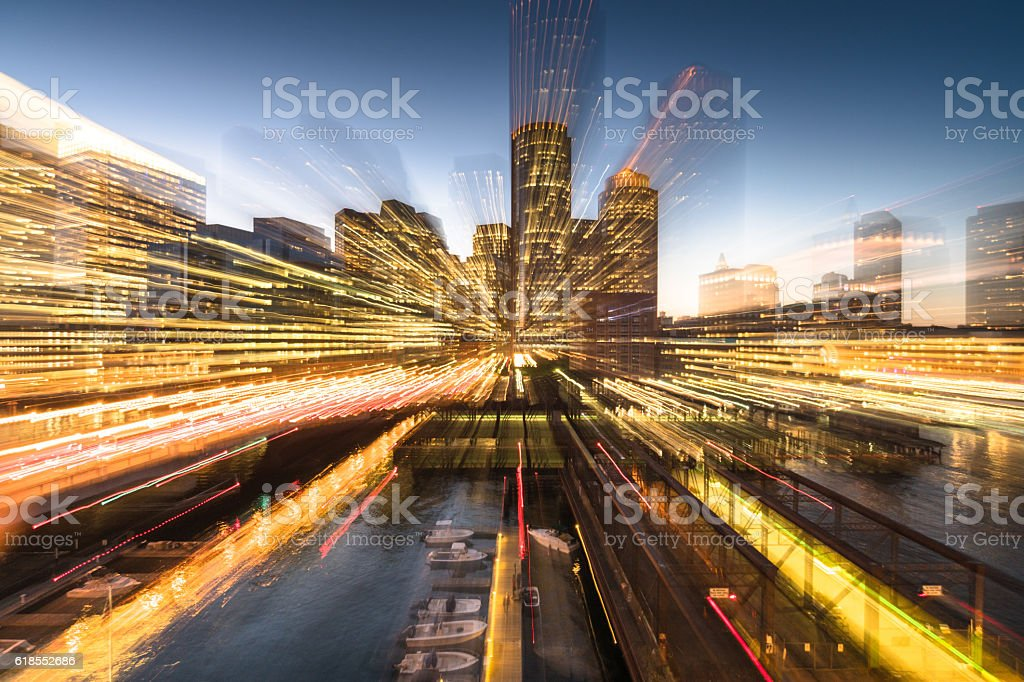 boston night skyline abstract view stock photo