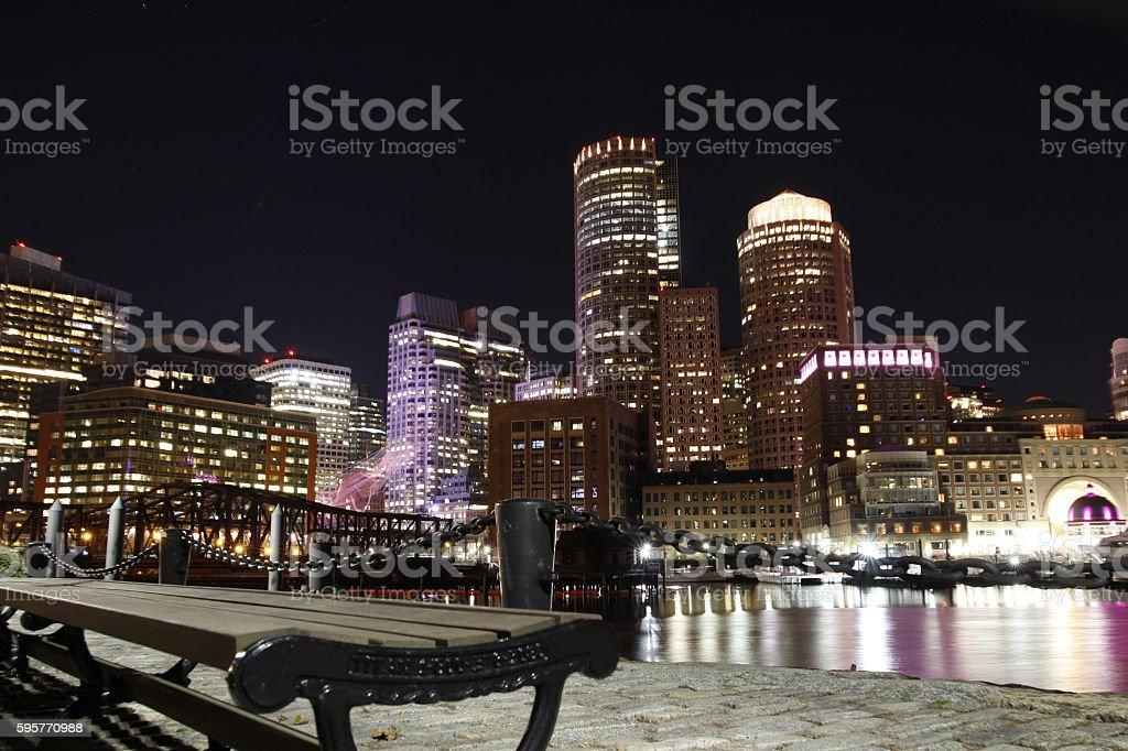 Boston Night Skyline stock photo
