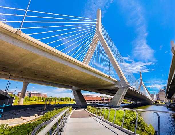 Boston - North Bank Walkway and Zakim Bridge stock photo