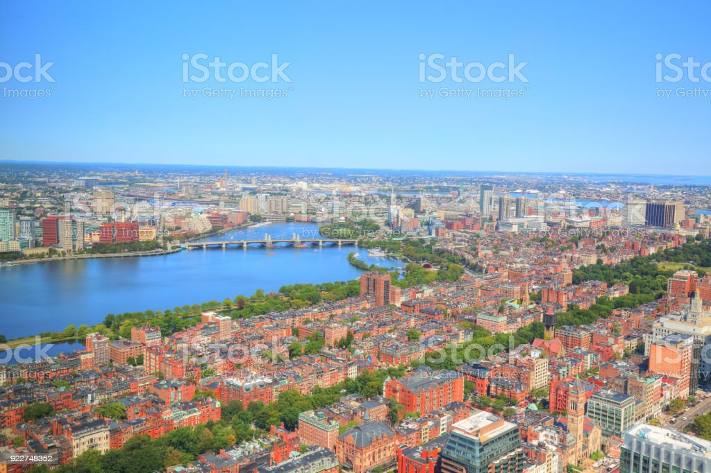 Boston Panoramic view from Prudential Tower observation deck stock photo