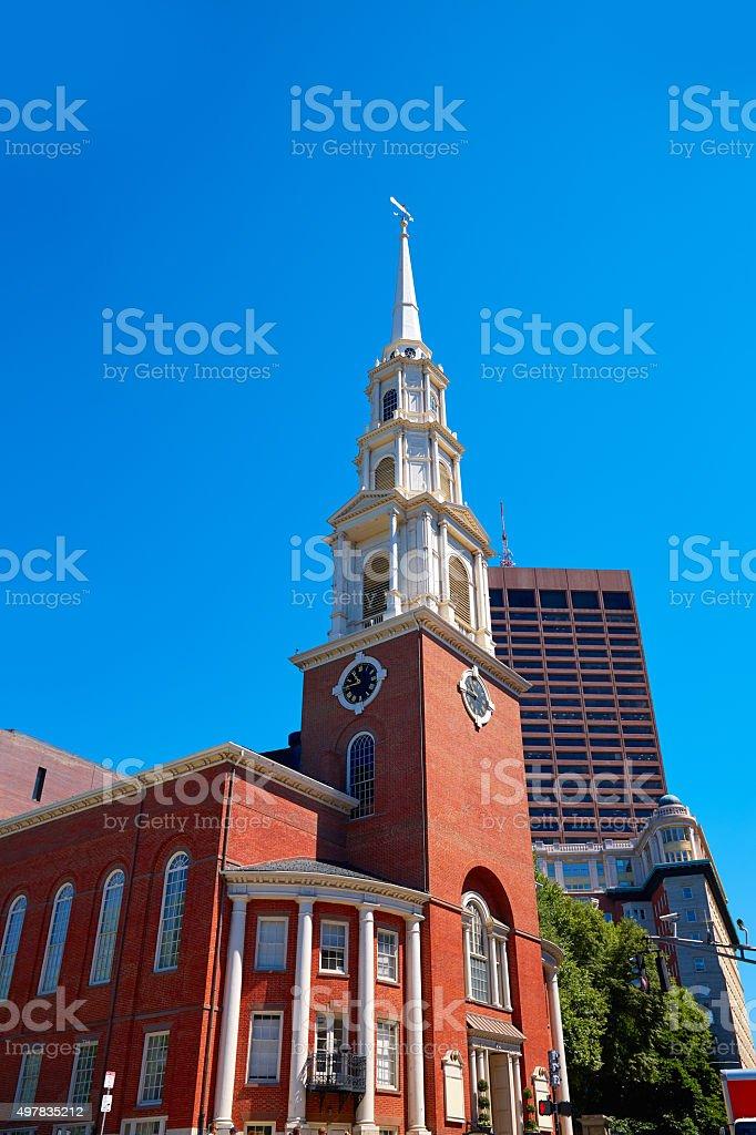 Boston Park Street Church in Massachusetts stock photo