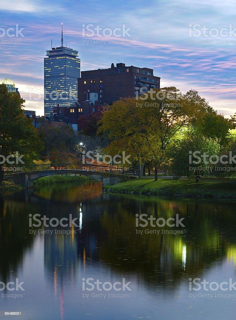 Boston Park Sunset royalty-free stock photo