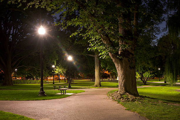 Boston Public Garden at night stock photo