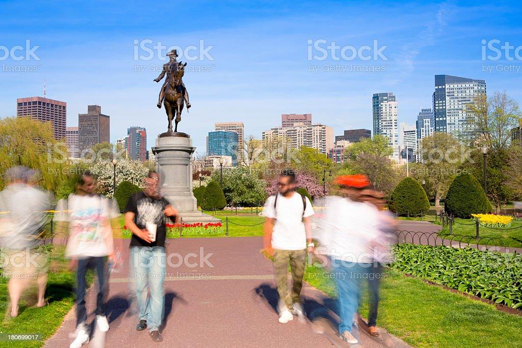 Boston Public Garden at spring stock photo