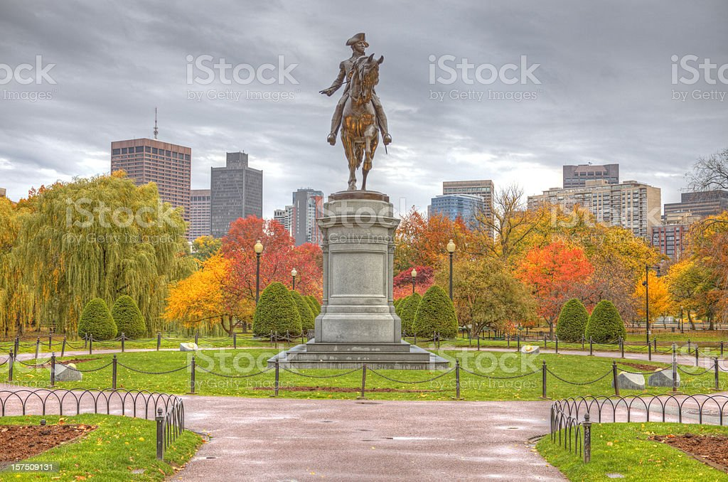 Boston Public Garden in Autumn royalty-free stock photo