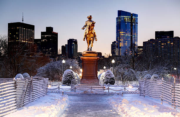 Boston Public Garden in Winter stock photo