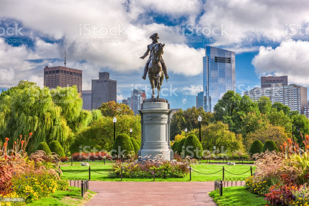 Boston Public Garden George Washington Monument at Public Garden in Boston, Massachusetts. Boston - Massachusetts Stock Photo