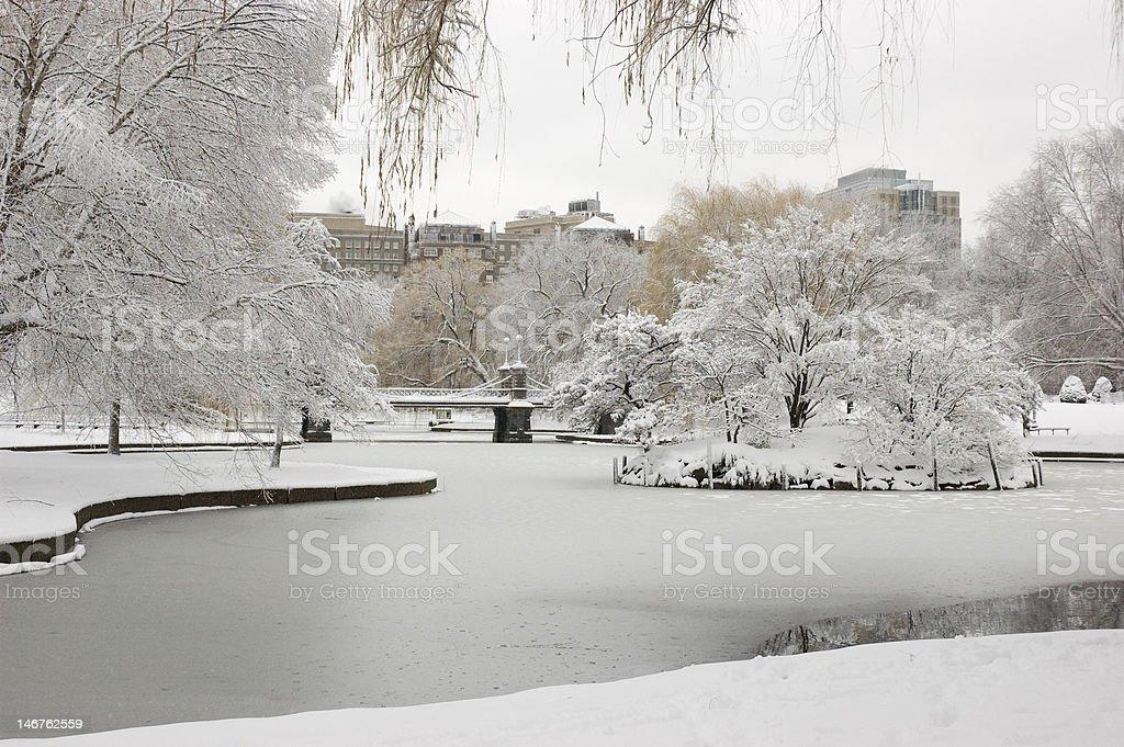 Boston Public Garden Winter stock photo