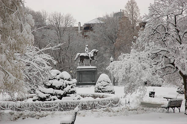 Boston Public Garden Winter stock photo