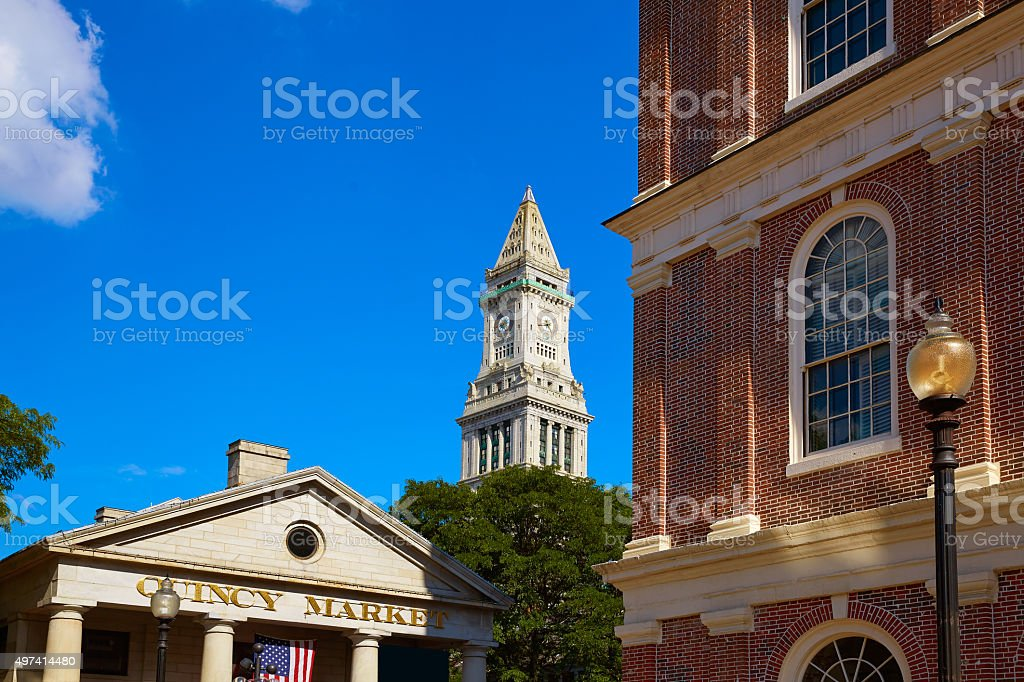 Boston Quincy Marchet and Custom House tower stock photo