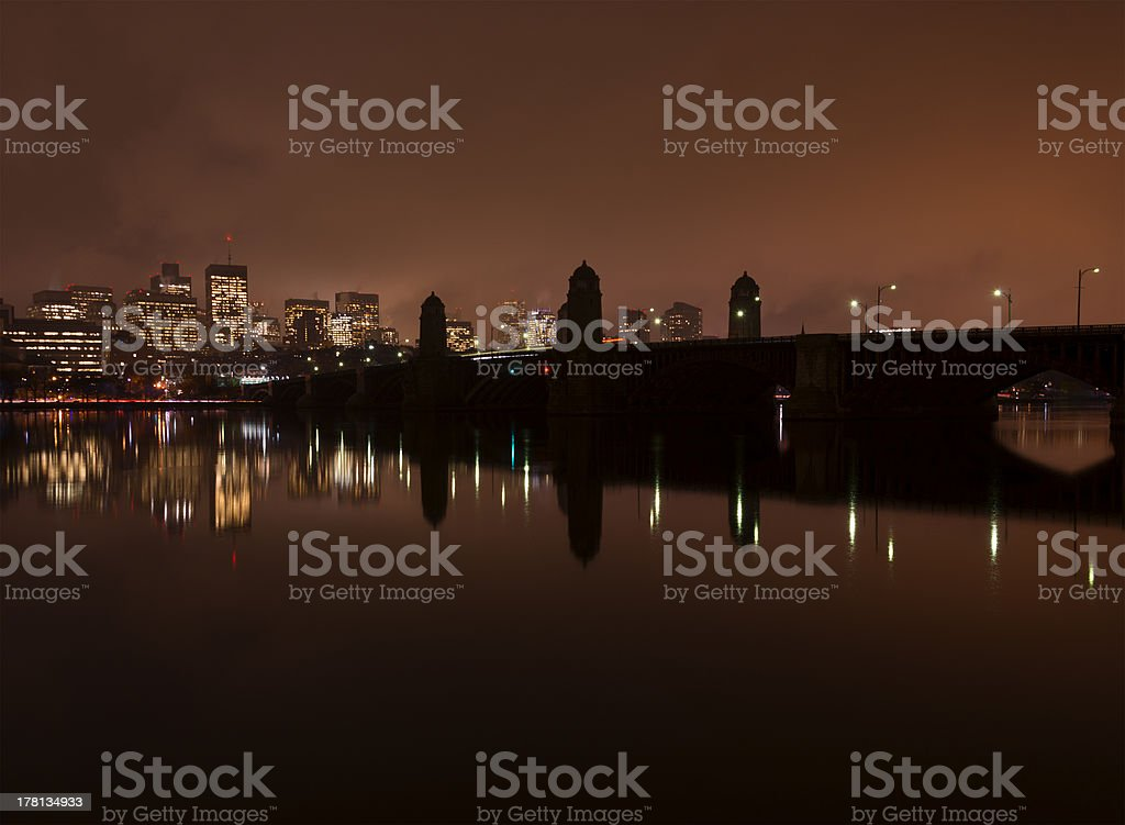 Boston river and skyline at night from Cambridge royalty-free stock photo
