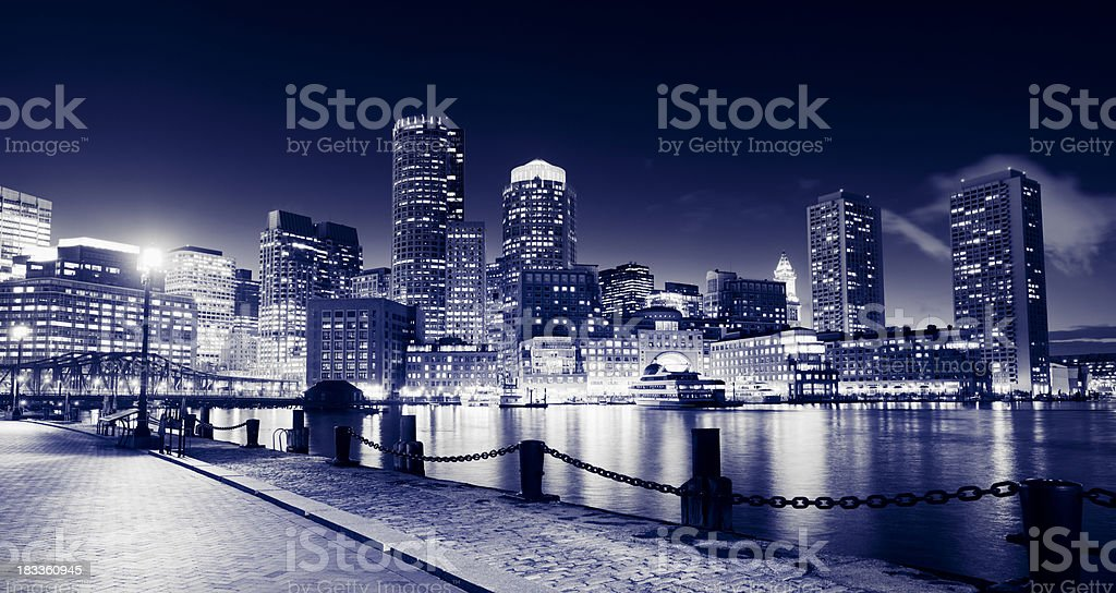 Boston Rowes Wharf City Skyline at Night in the USA royalty-free stock photo