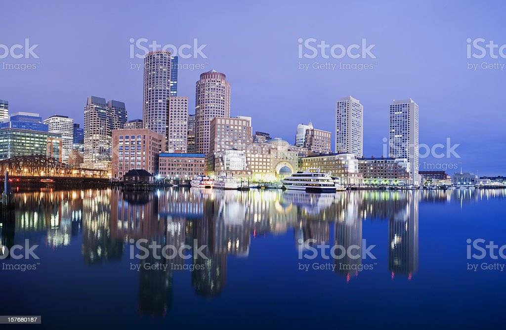 Boston Rowes Wharf City Skyline in the USA royalty-free stock photo