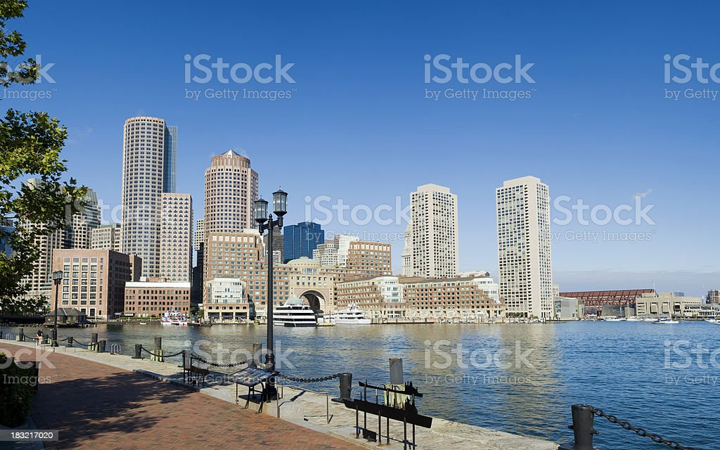 Boston Rowes Wharf City Skyline in the USA stock photo