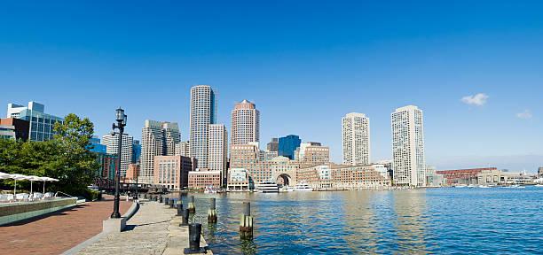 Boston Rowes Wharf City Skyline in the USA stock photo