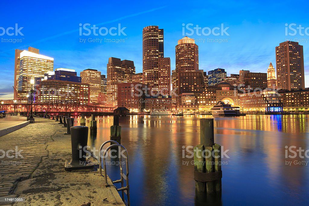 Boston Rowe's Wharf waterfront at night royalty-free stock photo