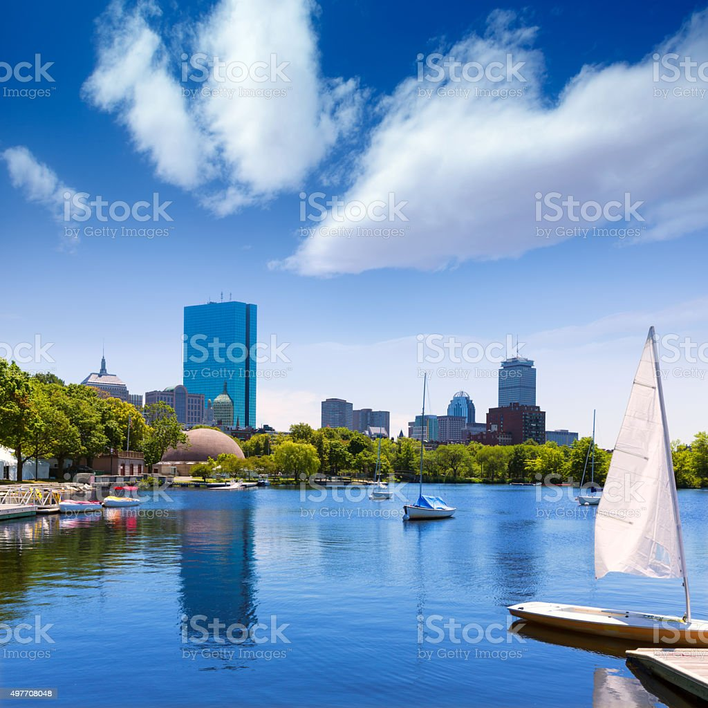 Boston sailboats Charles River at The Esplanade stock photo