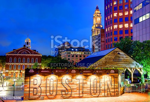 Boston, Massachusetts, USA - July 17, 2018: Evening view of the